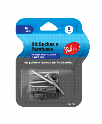 Kit Buchas + Parafusos Você Resolve – 8mm